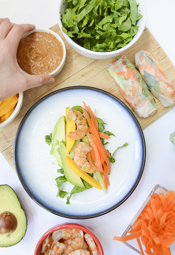 Mango Shrimp Spring Rolls with Peanut Dipping Sauce