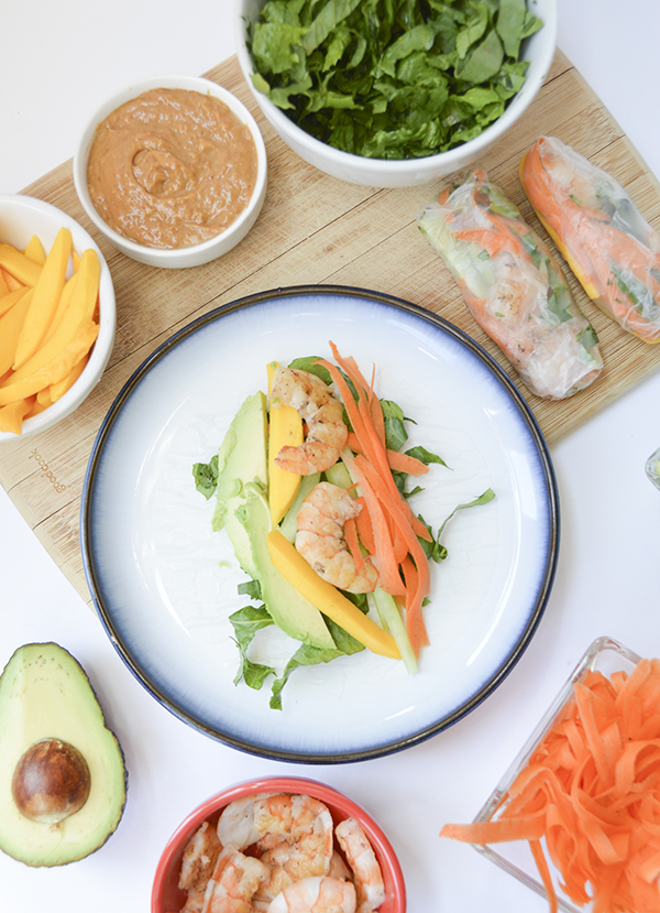 Mango, Avocado & Shrimp Spring Rolls with Peanut Dipping Sauce