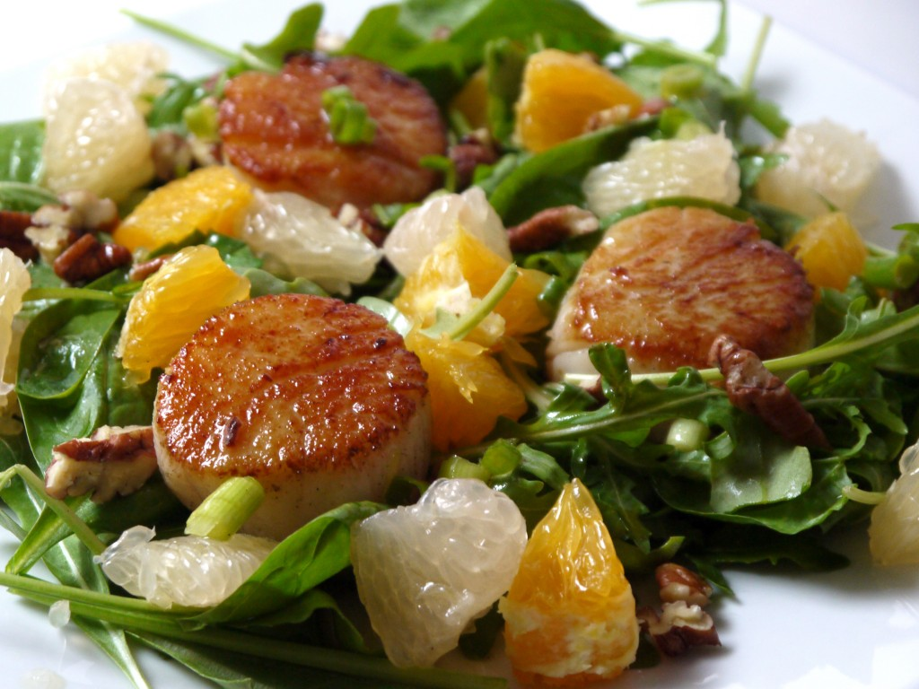 seared scallop citrus salad with pecans and a white wine vinaigrette