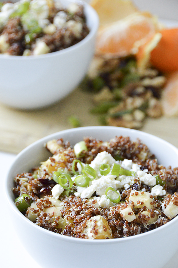 Apple Feta Quinoa Salad with Cranberries and Walnuts