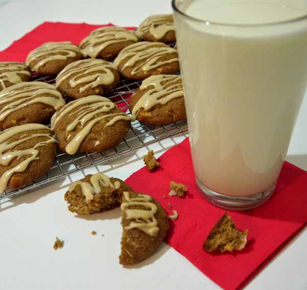 apple white chocolate chip cookies with a maple glaze drizzle