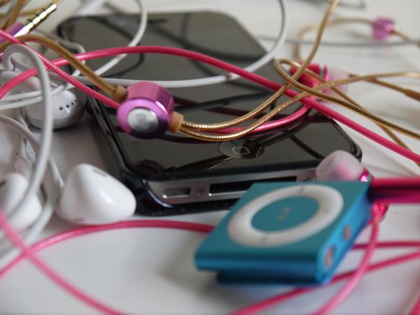 tangle of headphones
