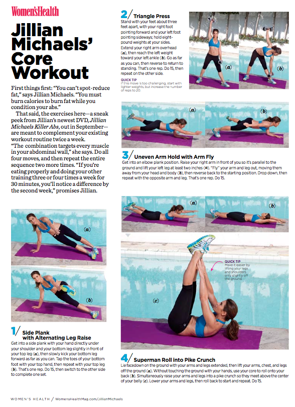 Jillian Michaels' ab workout for Women's Health Magazine
