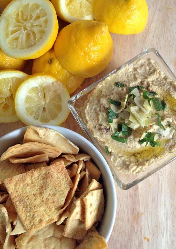zesty lemon artichoke hummus