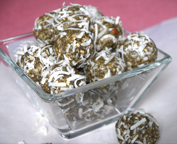 Almond Butter Muesli Bites Rolled in Coconut