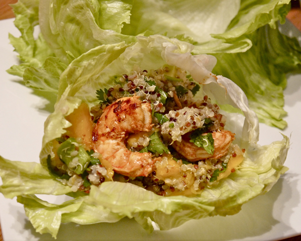 Mango-Kiwi Quinoa Lettuce Wraps with Spicy Grilled Shrimp
