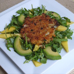 Thai Crab Cakes over Mango-Avocado Arugula Salad