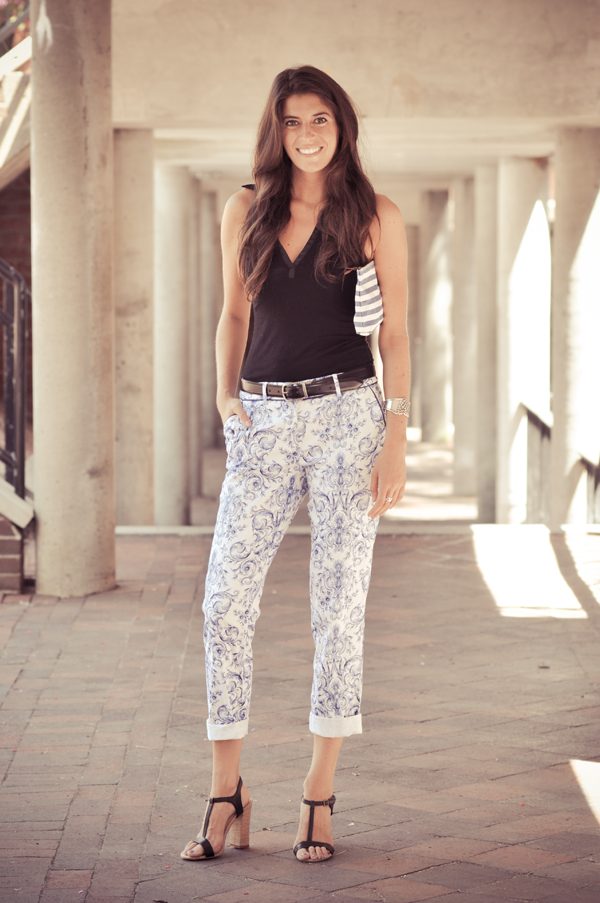 Blue Paisley Pants Outfit