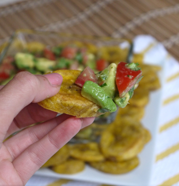 Baked Plantain Slices Topped with Avocado Salsa