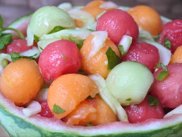 Melon Mint Salad with Cucumber