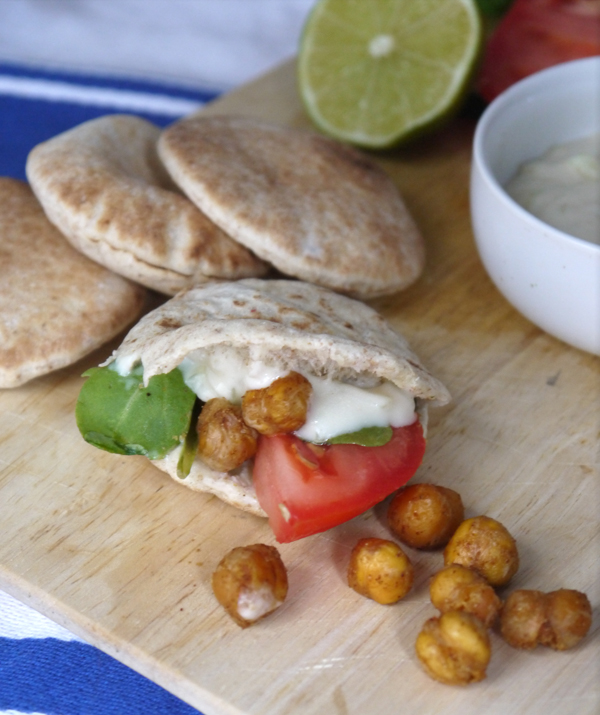 Roasted Chickpea & Arugula Pita Sandwiches with a Cucumber Lime Nayonaise Spread
