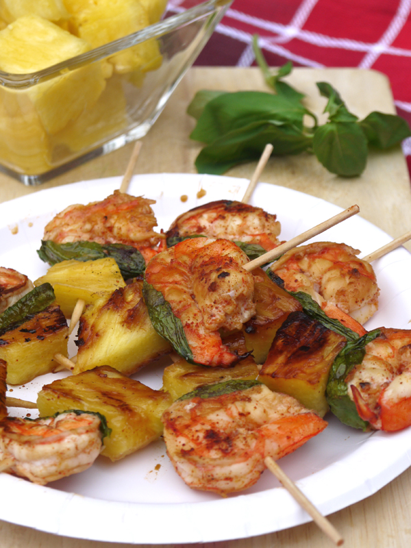 Grilled Pineapple Basil Shrimp Skewers
