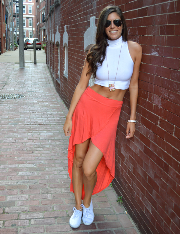 Hi-lo skirt and a crop top
