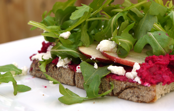 Roasted Beet Hummus and Goat Cheese Sandwich