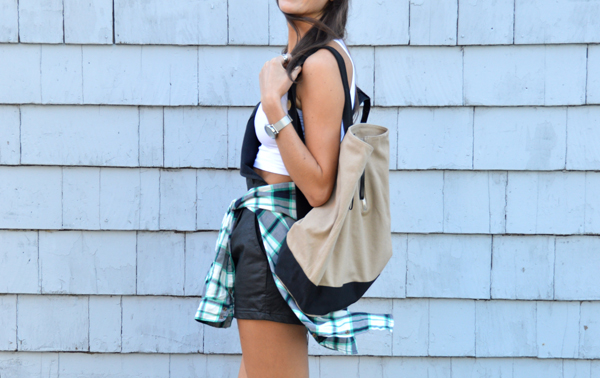 Leather overalls with plaid shirt and crop top