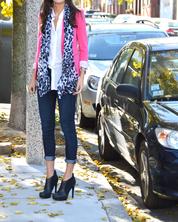 Pink blazer with printed scarf, cuffed jeans and booties
