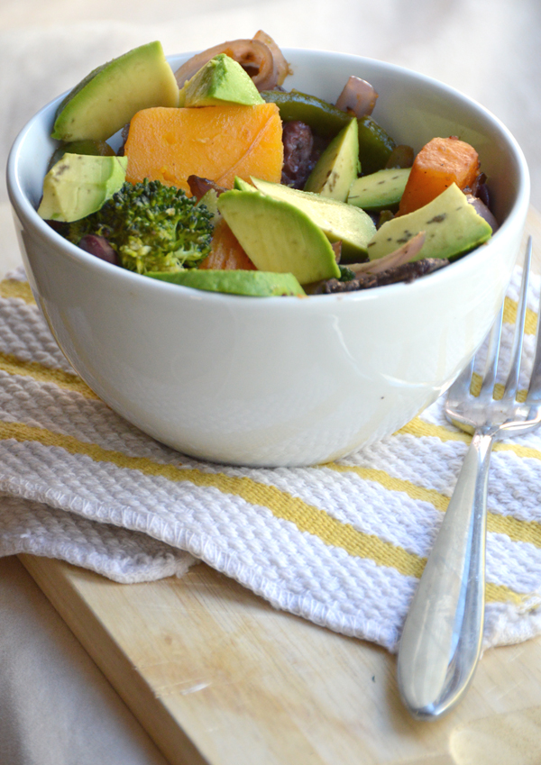 Veggie & Bean Stirfry topped with Avocado