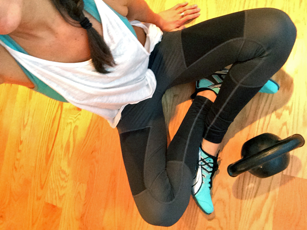 Black, blue and white workout outfit