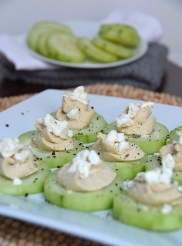 Cucumber Hummus Feta Rounds