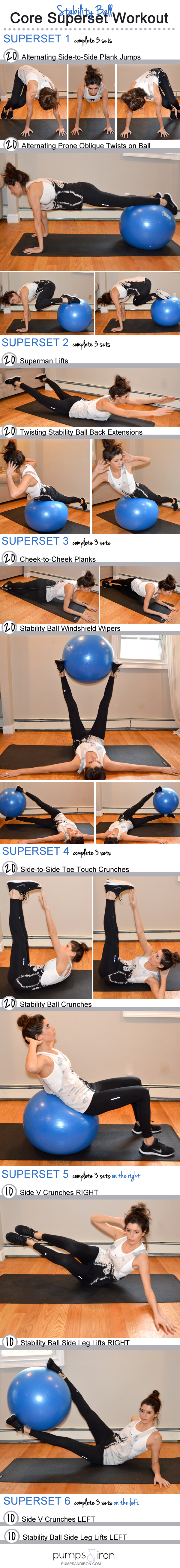 Stability ball superset core workout pumps and iron