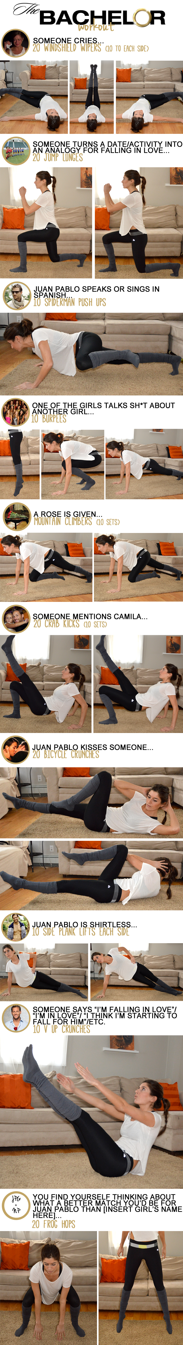 The Bachelor Workout (like a drinking game--only heathy!)