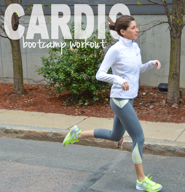 Cardio Boot Camp Workout -- running mixed with a bodyweight circuit