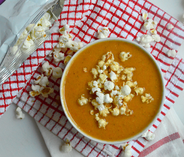 "Crock Pot Tomato Soup with Popcorn ""Croutons"""