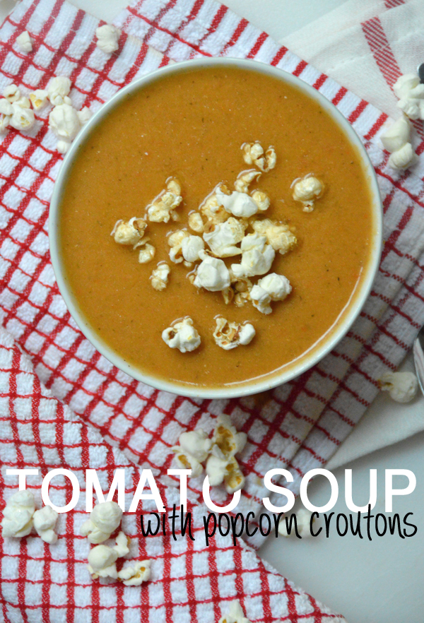 "Crock Pot Tomato Soup (Vegan) with Popcorn ""Croutons"""