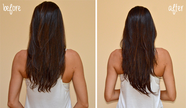 Before & After: Clip-In Hair Extensions (back view)