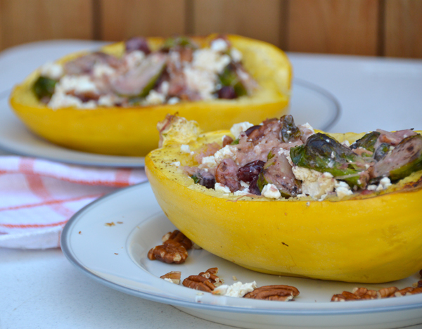 Stuffed Spaghetti Squash Boats (perfect vegetarian Thanksgiving dish!)