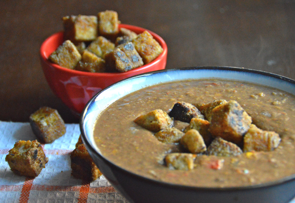 Black Bean Soup with Tofu Croutons