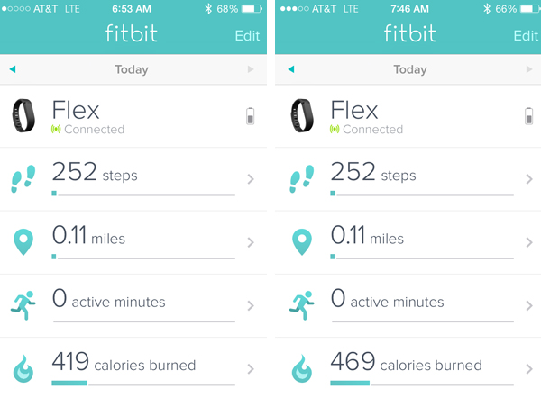 Fitbit Flex readout before and after pilates