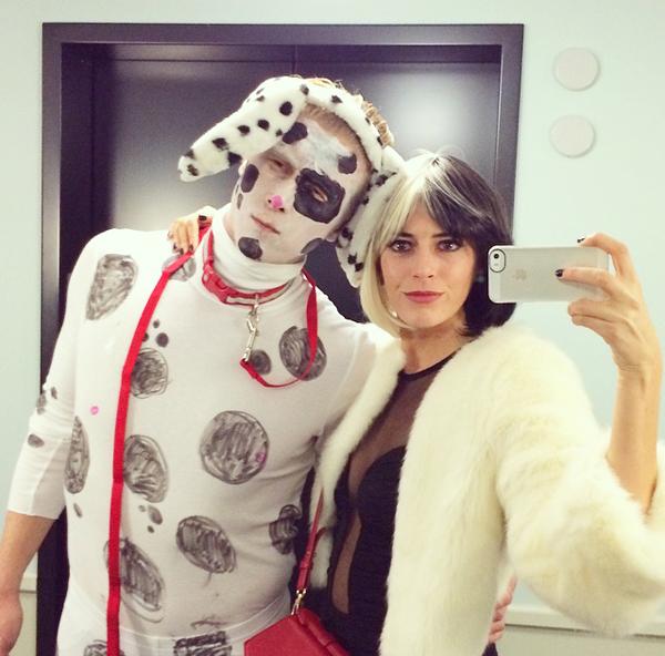 Cruella De Vil & Dalmatian Halloween Costume