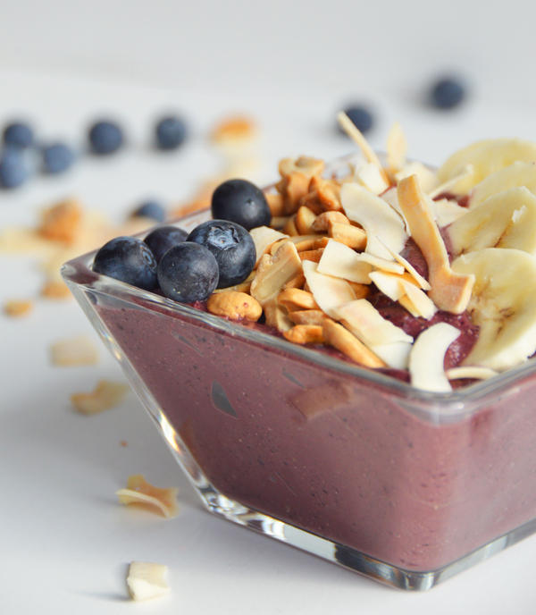 Blueberry Acai Smoothie Bowl with a Coconut Cashew Crunch Topping
