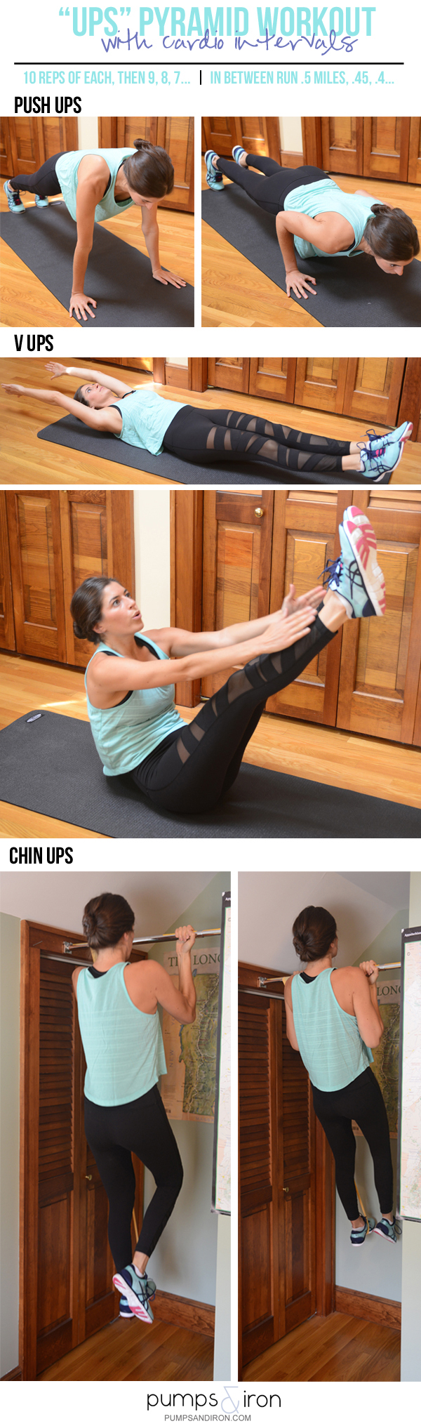 """Ups"" Pyramid Workout with Cardio Intervals on the Treadmill (Push Ups, V Ups & Chin Ups--that's it!)"