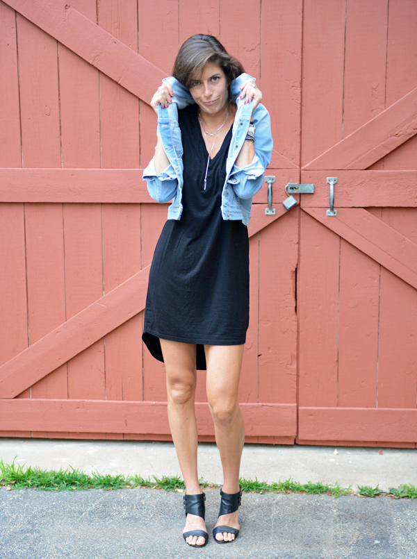 Stitch Fix Review - Sweet Grey Zachary T-Shirt Dress &  Mavi Kalie Bleached Denim Jacket