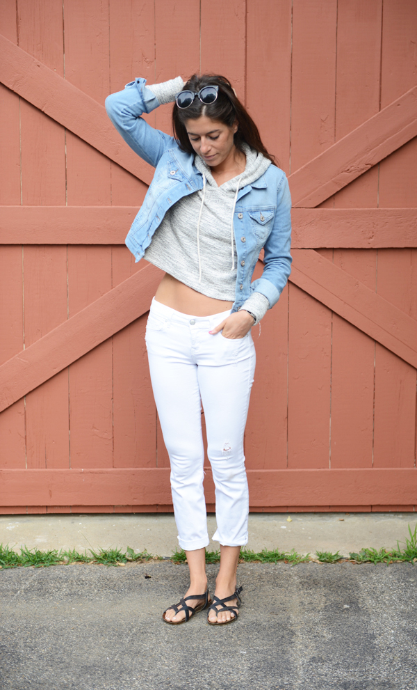 Stitch Fix Review - Mavi Kalie Bleached Denim Jacket & Level 99 Lillian Distressed Crop Skinny Jean