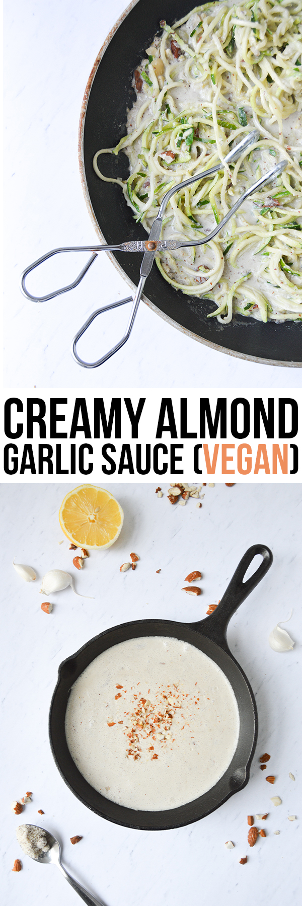 This creamy almond garlic sauce is dairy-free and delicious! Try it on pasta, zoodles, stir-fries and Buddha Bowls.