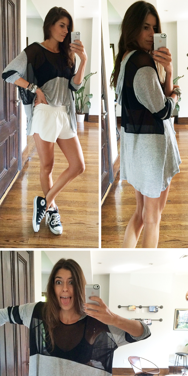 Sheer panel hoodie with white faux leather shorts and converse