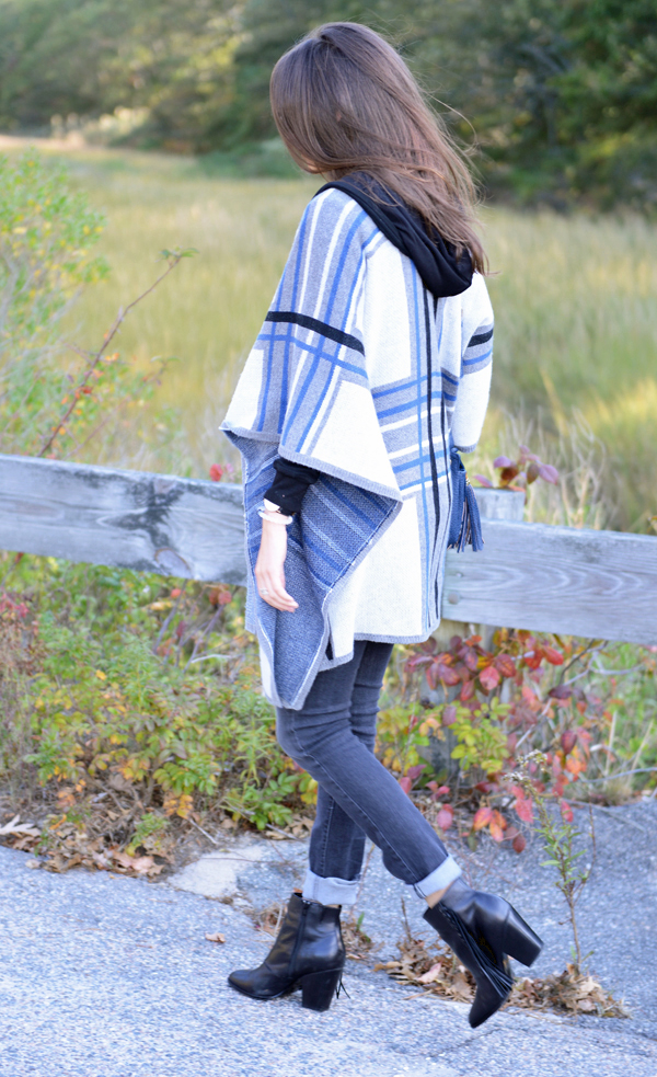 October Stitch Fix Review -- Maliya Poncho Cardigan & Paislee Distressed Straight Leg Jean pictured