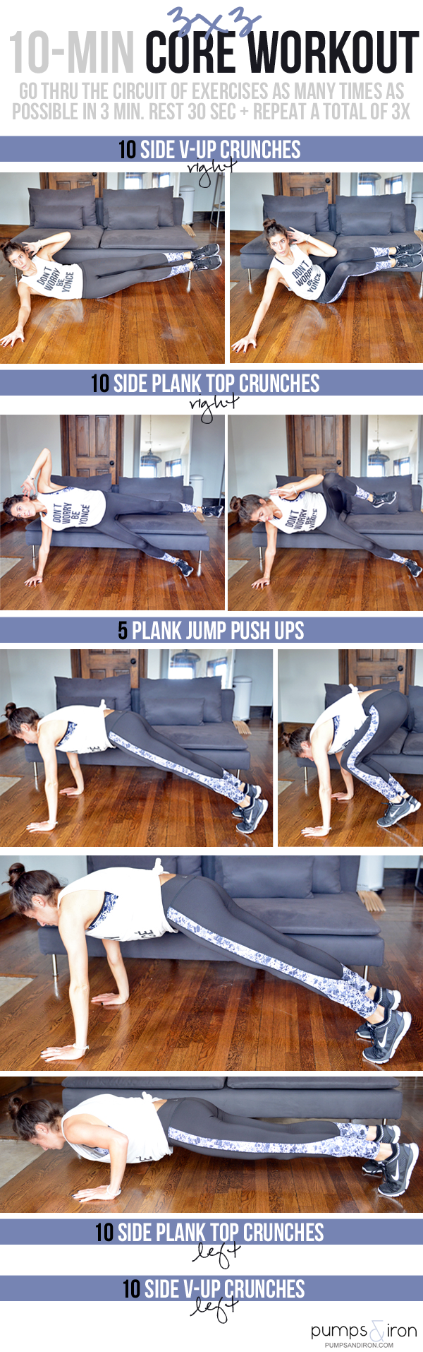 10-Minute Core Workout - 3x3 AMRAPS, no equipment needed