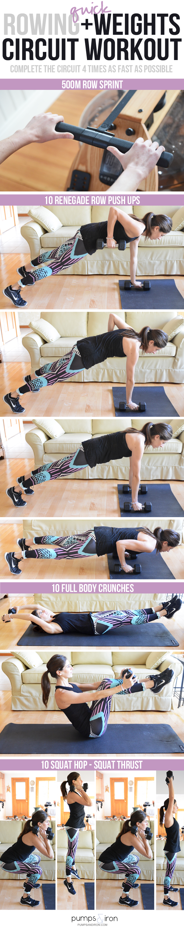 A Quick (But TOUGH) Rowing + Weights Circuit Workout | Pumps