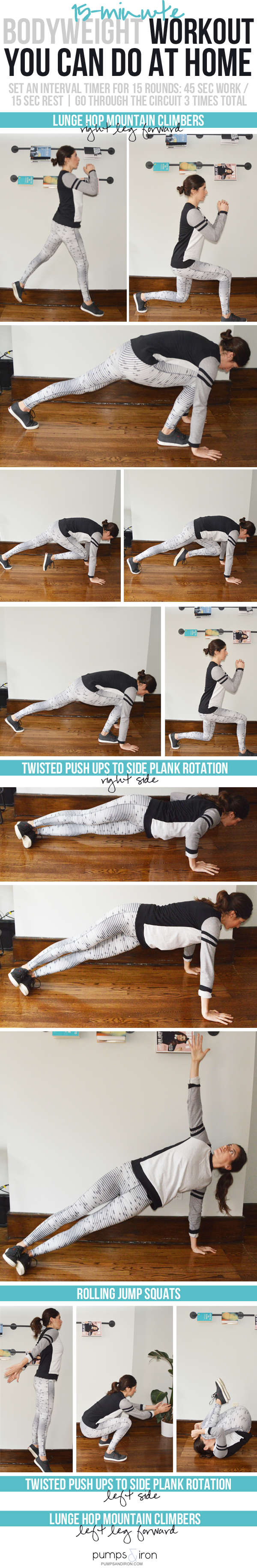 15-Minute Bodyweight Workout -- perfect to do at home!