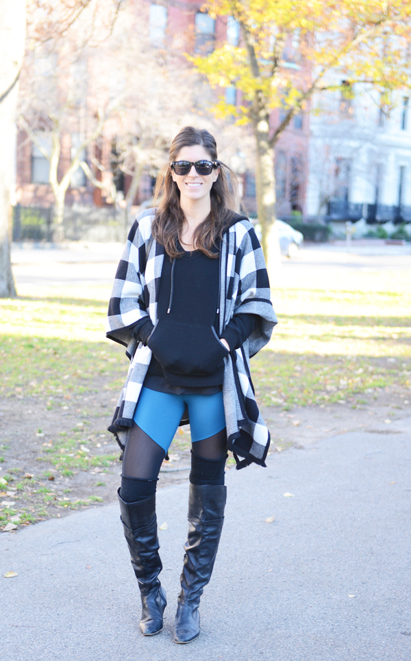Activewear casual fall outfit - boots, sweater poncho, leggings
