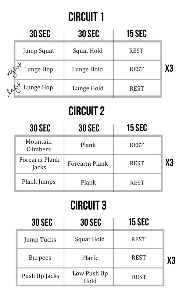 At-Home Interval Circuit Workout (Dynamic Movement + Isometric
