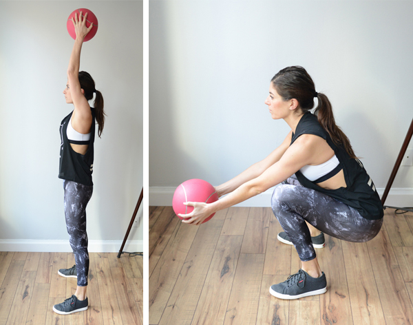 3 medicine ball (or dumbbell) exercises to add to your next workout : Overhead Slam Squat Catch