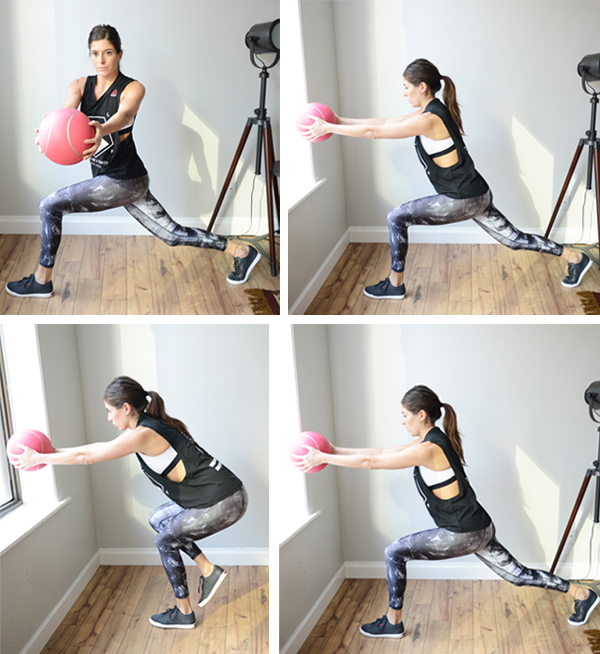 3 medicine ball (or dumbbell) exercises to add to your next workout : Torso Twist with Knee Driver in Lunge