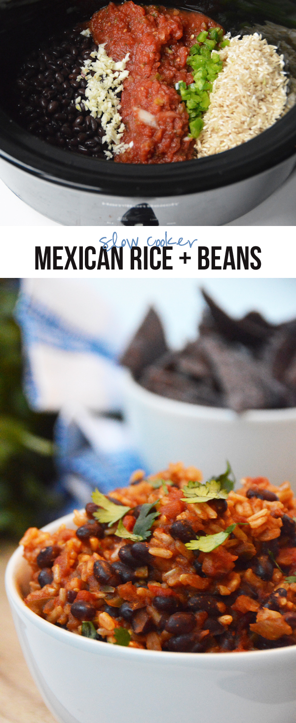 Slow Cooker Mexican Rice + Beans