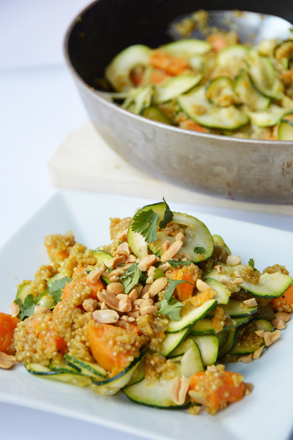 One-Pot Sweet Potato Curry Quinoa with Zoodles