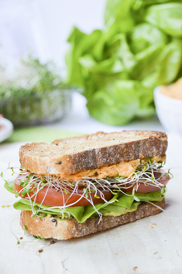 Sweet Potato Hummus Veggie Sandwich -- my go-to sandwich recipe!